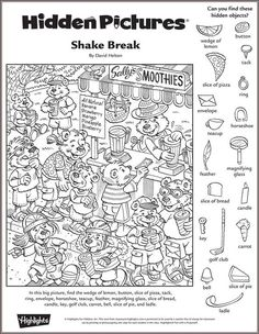 shake break hidden pictures puzzle - Free Printable Hidden Pictures