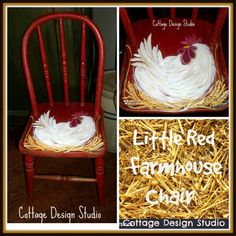 This is the most adorable , little red Farmhouse style childs chair! This is not something I come across often, well actually ever. This wood Farmhouse style chair has the original old red timeworn paint and was a perfect canvas for the white, fluffy hen on a nest. It is in good shape with normal vintage wear that only lends to the unique beauty of the piece. This sweet little chair was calling for the hand painted hen on her nest. I Love it and hope you Love it too. It measures 25 inches…