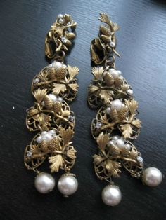 Vintage Miriam Haskell Filigree Acorn Pearls Long Earrings | eBay