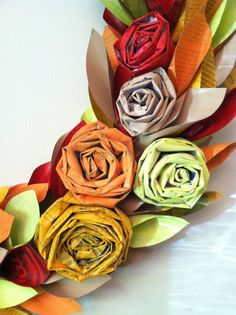 fall wreath paper  fall colors  large 22 inch by weirdlittleworld, $65.00