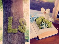 "moss wedding details. Put a tiny sign ""our love story"" or something cute"
