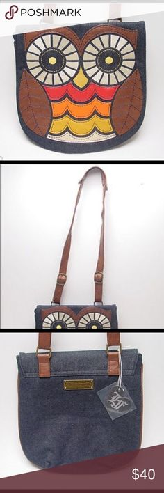 """Loungefly Owl Brown Crossbody Denim Bag Previously loved Loungefly Owl Denim Crossbody Shoulder Bag by Californian label Loungefly. Faux Leather Applique; 11.5"""" x 12""""; Adjustable brown faux leather shoulder strap (48"""") adjustable straps; Zipped compartment; Fastens with magnetic strap Bags Crossbody Bags"""