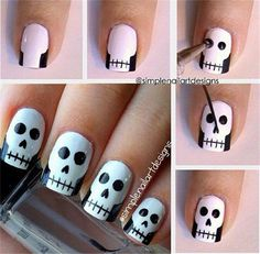 How cute are these skull nails by They're perfect for Halloween! You can also watch her video tutorial to see how to create this simple skull nail art. How are you wearing your nails for Halloween? Skull Nail Art, Skull Nails, Nail Art Diy, Easy Nail Art, Diy Nails, Cute Nails, Pretty Nails, Goth Nail Art, Diy Manicure