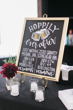 Hoppily ever after wedding sign: http://www.stylemepretty.com/vermont-weddings/stowe-vermont/2016/12/21/topnotch-resort-mountain-wedding/ Photography: Ruth Eileen - http://rutheileenphotography.com/