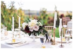 garden wedding centerpiece, cafe au lait dahlias, seeded eucalyptus, burgundy dahlias, quicksand roses, bay leaf  Long Farm Barn West Linn Oregon,  Photo by Sweetlife photography Floral Swoon Floral Design