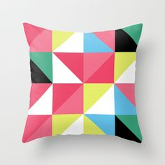 Geo Poster Brights 2 Throw Pillow by Neri Han - $20.00