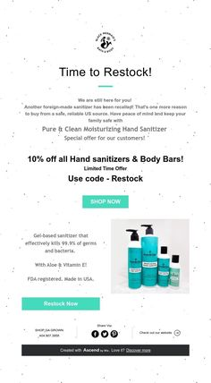 Time to Restock! Peace Of Mind, Hand Sanitizer, Pure Products