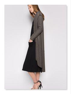 5954c149d2b #Et'lois USA #Artsy Women's Fashion & Style #Lagenlook #Long Cardigan &  Black Dress