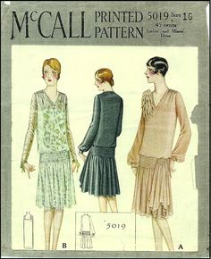 1920s Ladies Dress Sewing Pattern - McCall 5019