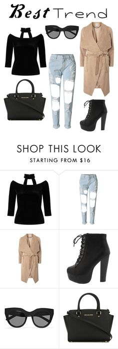 """#besttrend2016"" by xoxeloisexox ❤ liked on Polyvore featuring Miss Selfridge, WithChic, Dorothy Perkins, Le Specs and MICHAEL Michael Kors"