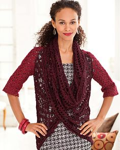 """Sweater with Cowl by Marlaina """"Marly"""" Bird from Crochet Red pairs two luxurious yarns - Seraphim and 100% Yak Sport, both from bijoubasinranch.com."""