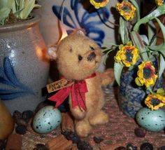 "Primitive Teddy Bear 4"" Doll ★ Vtg Patti's Ratties Easter Spring Pooh Cub OOAK"