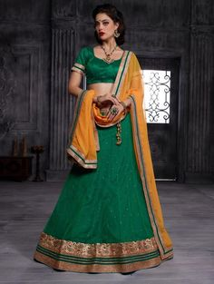 Green Net Lehenga Choli with Diamond Work