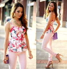 Floral Blouse, Pink Denim, Rose Gold Heels, Gold Chain Necklace