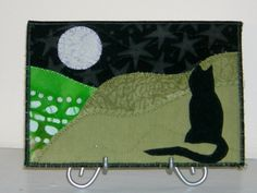 Cat and Moon Fabric Postcard Art Quilt,Landscape Fiber Art, Quilted Fabric Postcard. $12.00, via Etsy.