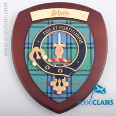 Shaw Clan Crest Wall Plaque. Free worldwide shipping available