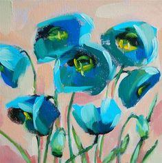 """""""Blue Poppies no. 2 Painting"""" - Original Fine Art for Sale - � Angela Moulton"""