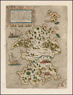 "Old map of Mallorca, Spain -  by Ferando Bertelli, hand colored, published in Venice, 1565 ca . The map is oriented with west at the top.  Several towns are named and seveal sailing ships are shown. Bertelli is one of a group of 16th Italian mapmakers often referred to as ""Lafreri School,"" named for the Roman mapmaker and publisher Antoni Lafreri . Barry Lawrence Ruderman Antique Maps Inc."