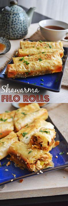 Shawarma filo rolls,