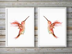kolibri aquarel schilderijen   2 gespiegelde prints