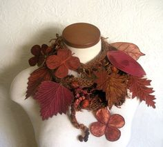 Long and Leafy Scarf with Embroidered Leaves- Fiber Art Scarf- Burnt Sienna with Leaves of Rust, Cop