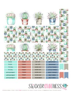 Free Printable Ouch Cactus Planner Stickers from StickerCuteness