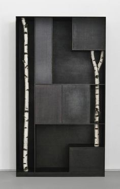 home | furniture | Andrea Branzi wall unit / bookcase with birch tree trunks. Lovely.