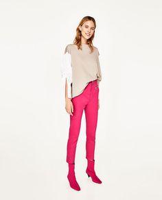 Image 1 of OVERSIZED LONG SWEATSHIRT WITH POPLIN SLEEVES from Zara Zara Women, White Jeans, My Style, Sweatshirts, Sleeves, Pants, Color, Lotus, Image