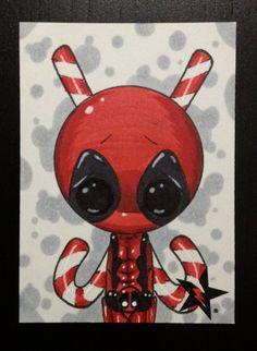 Sugar Fueled Deadpool Marvel Comic lowbrow creepy cute big eye ACEO mini print Art Sinistre, Michael Banks, Art Mignon, Creepy Art, Princesas Disney, Big Eyes, Nightmare Before Christmas, Rock Art, Doodle Art
