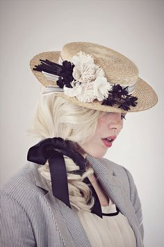 Edwardian Straw Boater Hat by BaroqueAndRoll on Etsy