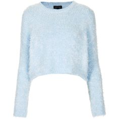 TOPSHOP Knitted Fluffy Crop Jumper (8.600 CLP) ❤ liked on Polyvore featuring tops, sweaters, shirts, jumpers, pale blue, topshop tops, jumper shirt, shirt tops, jumpers sweaters and blue crop top