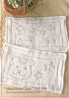 幼稚園準備 100均のぞうきんをちょっぴりかわいく♪ 1 Diy For Kids, Cool Kids, Crafts For Kids, Diy Photo, Handicraft, Couture, Fabric Crafts, Needlework, Embroidery Designs