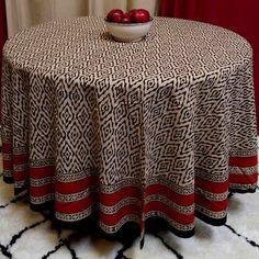 Handmade 100% Cotton Hand Block Print Dabu 90 inches Round Tablecloth Brick Red Beige Tan Black