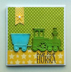 Card for kids - birthday - train - Marianne design train die LR0308  - Bundle of Joy Boy paper pad - Echo Park paper pad Bundle of Joy Boy Collection. #echoparkpaper - JKE