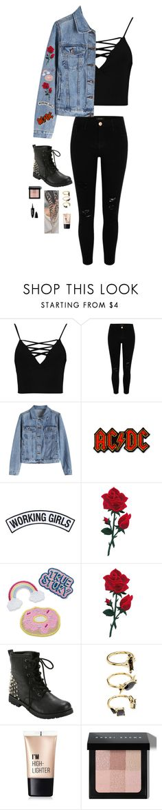 """""""Untitled #4574"""" by if-i-were-famous1 ❤ liked on Polyvore featuring Boohoo, River Island, DC Shoes, Working Girls, Noir Jewelry, Charlotte Russe, Bobbi Brown Cosmetics and Maybelline"""