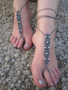 Free Shiping Macrame Barefoot Sandals Foot Jewelry by Serbiangirl