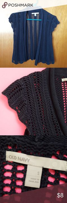 """Crocheted Cap Sleeve Sweater 100% cotton. 20"""" length. In good condition. Old Navy Sweaters"""