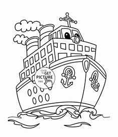 Cartoon Big Ship Coloring Page For Kids Transportation Pages Printables Free