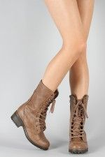 Dollhouse Combat Lace Up Military Mid Calf Boot