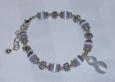 Grey awareness butterfly bracelet (Diabetes, Asthma, Allergies, Brain Cancer, and more)