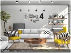 Set of furniture for living room in Scandinavian style Found in TSR Category 'Sims 4 Living Room Sets'