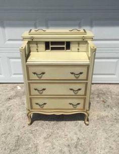 Vintage French Provincial Drexel Touraine Secretary Dresser White Gold Original Paint Sewing Cabinet