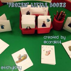 Created by my student - mark making enhancements; little Frozen books.