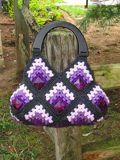 OOAK Stylish Handmade Granny Squares Crochet Bag. $99.95, via Etsy.