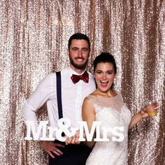 Our gold backdrop at Anthony and Keeley's Carrigan Farms Wedding in Moorsville, NC! View more photos at www.thereveriebooth.com