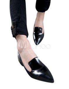 Loisirs noir bout pointu brevet PU cuir mocassins pour femme - Milanoo.com