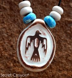 Thunderbird Firebird Native American Clay Pendant Necklace with Handmade Beads  #SecretCanyon