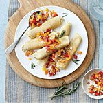 Chickpea-Rosemary Crepes with Pepper Relish Recipe | MyRecipes.com