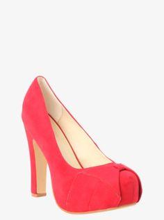Faux Suede Bow Platform Heels (Wide Width)