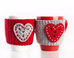 Crochet mug cozy warmer Mug warmer heart cup by LittleKnittedThing Crochet Christmas Cozy, Crochet Coffee Cozy, Crochet Cozy, Christmas Crochet Patterns, Crochet Gifts, Hand Crochet, Diy Christmas, Christmas Stockings, Mug Warmer